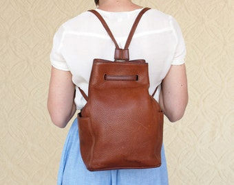 80's Coach Leather Backpack | Pebble Leather Swing Bag
