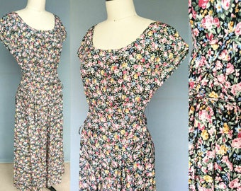 florid / 90s floral maxi dress with lace up detailing / 6 8 small