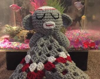 Baby sock monkey hand blanket