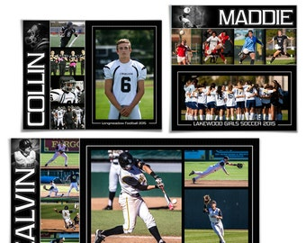 SPORTS Collage Set - PURE PERFORMANCE - (3) Digital Photoshop Templates for Photographers & Scrapbookers. 12x12,11x14,10x20.