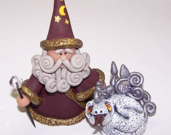 Merlin, Magician, Book of Spells, Dragon, White, Purple, Clay, Figurines, Mythical, Fantasy, Gray, Staff, Wizard, Free Shipping, Collectible