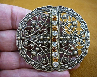 filigree scrolled FLOWER brass flowers with white and yellow rhinestones hair Barrettes French barrette CB-OTHER-6