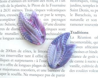 Marbled Purple Leaf Bead Vintage Lucite Leaf Bead Unique tile beading Detailed Leaf