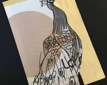 Postcard / greeting card / recycling / gilt / handmade / Peacock