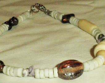 Anklet White Shell Beach Summer Jewelry Highlighted with Multicolors, Shell Anklet, Shell and Multicolored Anklet,Beach Anklet by CindyDidit