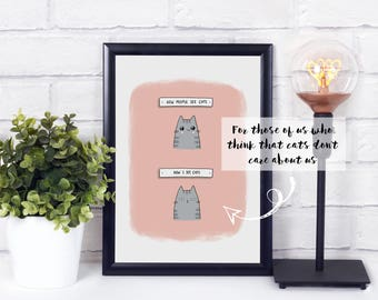Cats Don't Care A4 Art Print