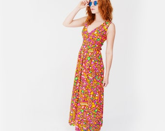 Vintage 70s Neon Print Boho Maxi Dress S