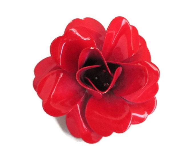 Red Rose Brooch, Vintage Enamel Brooch, Large Flower Brooch, Retro Rose Pin, Vintage Red Pin, Gift For Her