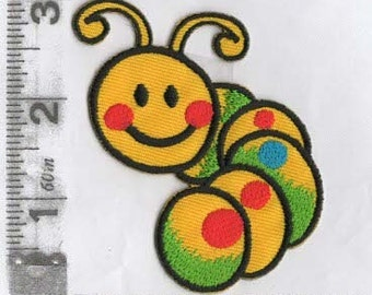Bright yellow embroidered caterpillar iron on patch
