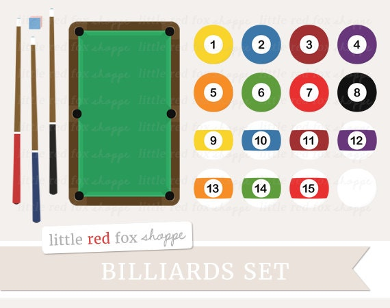 Billiards Clipart Pool Set Clip Art Game Ball Table Cue Stick Chalk Green Eight Sport Cute Digital Graphic Design Small Commercial Use