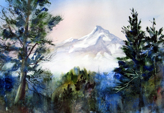 Mt. Hood 145 - Columbia Gorge - print - Bonnie White - watercolor - painting - wall art - home decor - northwest - landscape