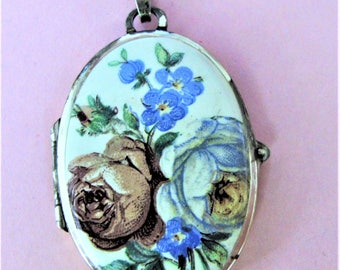 Beautiful Vintage Continental Silver Handpainted Floral Double-sided  Locket