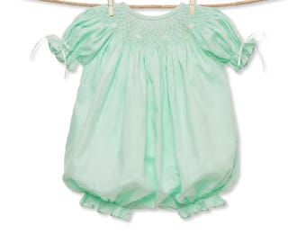 Mint and White Classic Smocked Romper with Ribbons