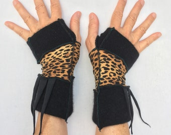 Spotty and Wild Poets  Pulse Warmers  with thumbholes