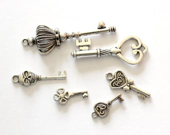 6 Silver Key Charms - Antique - Assorted - 10 - 55mm - Ships IMMEDIATELY - SC995