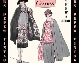 Vintage Sewing Pattern 1920s Capes Booklet Depew 3038 -INSTANT DOWNLOAD-