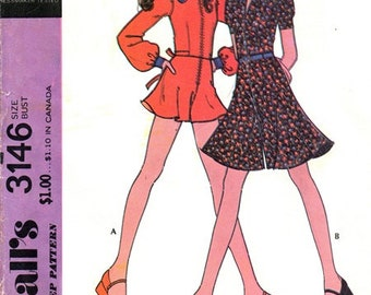 McCall's 3146 Flirty Pantdress or Romper 1972 / SZ10 UNCUT