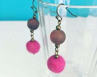 Newport Felt Earrings in Dark Pink, Purple Dangle Earrings, Felt Balls, Recycled Glass, Gift for Mom, Statement Earrings, Eco Friendly