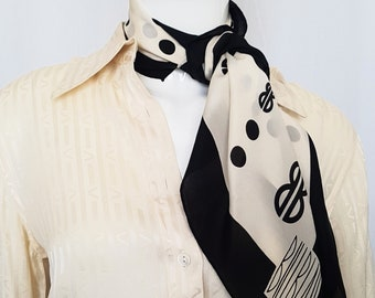 Vintage 70's BILL BLASS Fine Silk Crepe De Chine Art Deco Inspired Graphic Monogram Logo Scarf in Black and Cream