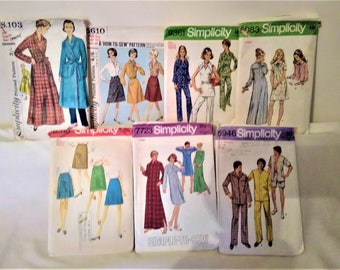 7 x VINTAGE 1950's to 1970's SIMPLICITY Sewing Patterns Size: Medium to Large