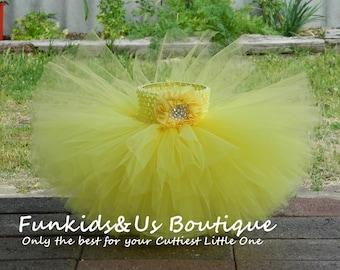 Yellow baby Ballerina  Tutu Skirt- Yellow Diamond double layered Tutu skirt-Smash cake photoprop, birthday- newborn to young teen