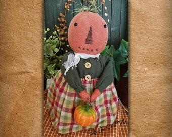 Miss Jackie - Pumpkin Doll - Primitive Folk Art - Fall decor - autumn - As the Crow Flies - Free shipping