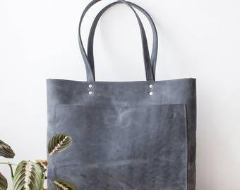 Large Distressed Grey Leather Tote, Genuine Leather Bag, Gray Leather Bag, Front Pocket Bag, Handmade Bag, Travel Bag, Oversized Bag
