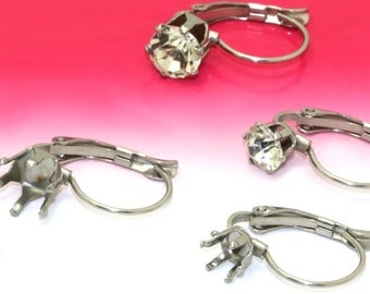 50 Earring Blanks-  Stainless Steel Lever-Back Ear Wire W/ 5mm/ 6mm/ 8mm Round Prong Setting Wholesale Earrings Ear Wires