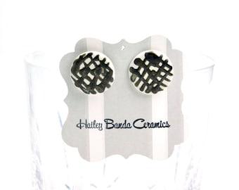 Large round stud earrings, cross hatch studs, metallic lines, ceramic earrings, white and metallic studs, large stud earrings