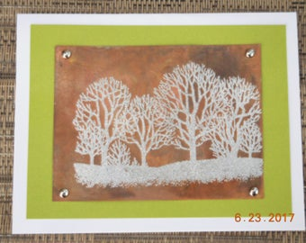 Embossed Trees on Copper Card #001