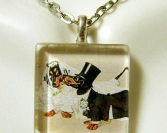 Dachshund wedding pendant and chain - DGP01-008