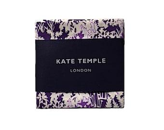 NEW Liberty dark purple pocket square, floral pocket square, purple flower pocket square, wedding groom suit pocket square, hankie