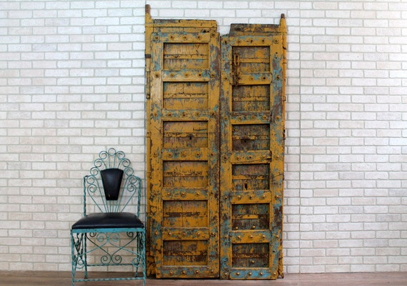 Like this item? - Antique Indian Door Set Moroccan Decor Teak Wood Yellow And