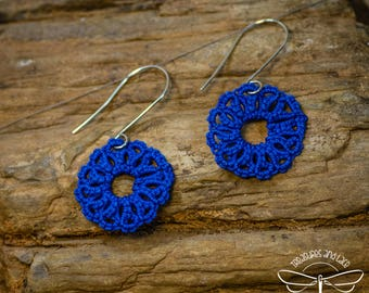 Navy Blue Tatted Lace Wheel Earrings