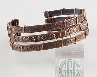 Bracelet - Patinated Wide Copper Cuff  (B083)