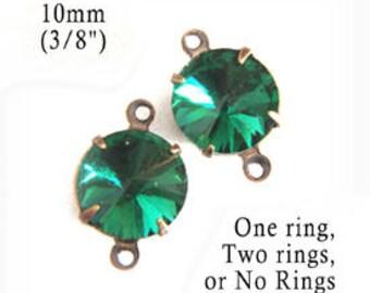 Emerald green glass beads - 10mm round rhinestone earring drops or pendants with rivoli faceting - one pair dark green glass gems