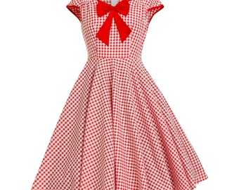 Christmas Dress Red Gingham Dress Checkered Dress 50s Party Dress Picnic Dress Retro Dress Pin Up Dress Rockabilly Dress Vintage Style Dress