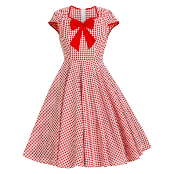 Christmas Dress Red Gingham Dress Checkered Dress 50s Party