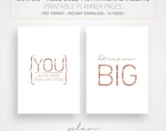 Printable planner Rose gold planner Motivational inserts 5.5 x 8.5 inserts Half letter inserts Motivational planner pages