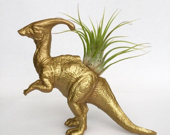 Gold Parasaurolophus Dinosaur Planter with Air Plant // Coworker Gift // For Her // For Him