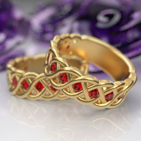 Celtic Wedding Ring Set with Ruby Stones in 4 Cord Braided Knot Design in 10K 14K 18K or Palladium, Handmade to Custom Ring Size CR-1008