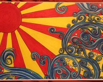"""Art print """"sunburst"""" 11x17"""