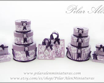 Hat box, toile jouy, gift box, shopping bag, plum color, dollhouse, 12th Scale,  Toile Jouy, Plum color, One inch scale.