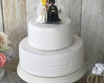 Sailor Moon with Wedding Dress Kissing Batman Wedding Cake Topper