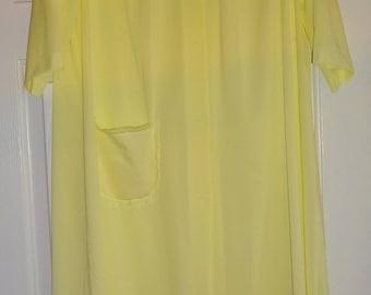 Vintage Robe Yellow Nylon Robe Shadowline Medium Lace Trim
