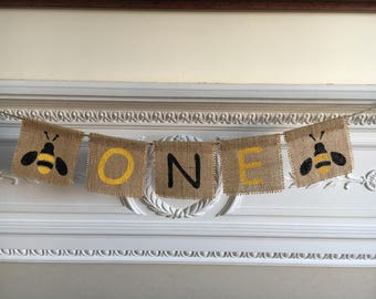Cute ONE with BEE detail burlap banner, highchair photo prop garland bunting 1st birthday decoration.