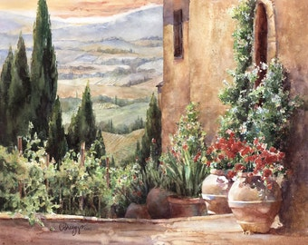Toscano Terrazo Watercolor of Tuscany Scene in Giclee Print