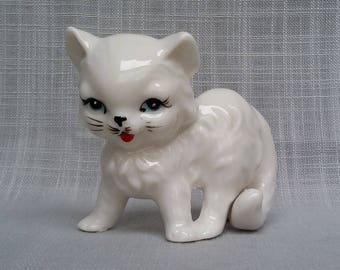 Cute White Kitty Figurine, Lefton Cat Figurine, Blue Eyes Pretty Bone China Kitten Figurine, Collectible Cat Miniature