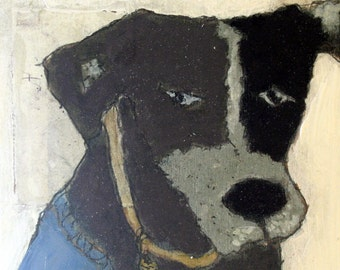 Doggie wearing blue - collage painting