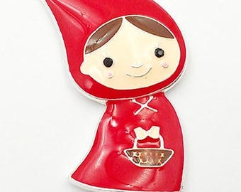 45*27mm, Little Red Riding Hood, Enamel Pendant, Red Riding Hood, Big Bad Wolf, Girl Pendant, DIY Necklace, Fairytale Characters